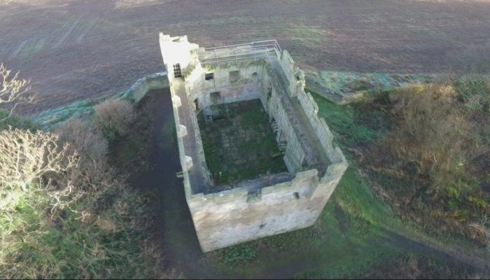 Aerial view of Cresswell Pele Tower